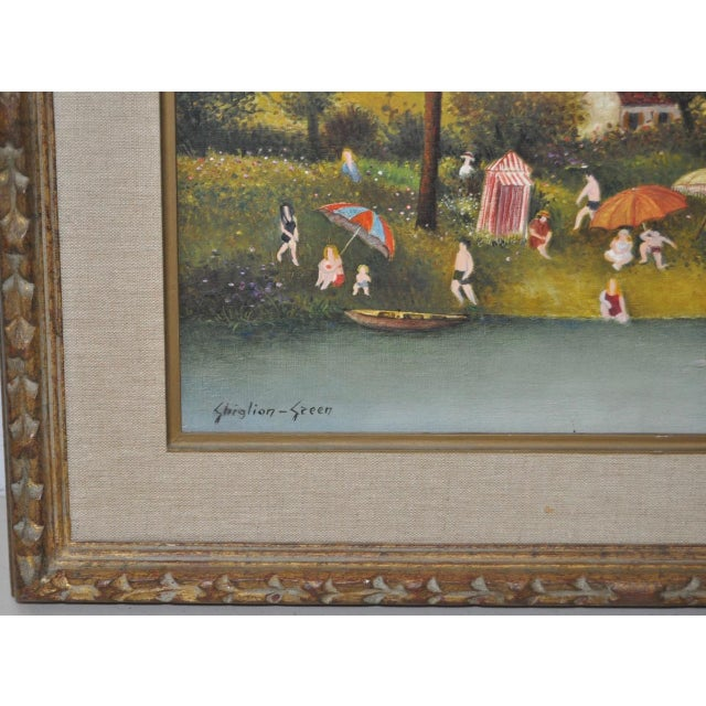 C.1950s Maurice Ghiglion-Green Oil on Canvas For Sale - Image 5 of 10