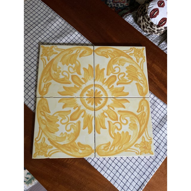 Yellow Vintage Italian Terra-Cotta Hand Painted Glazed Tiles - Set of 4 For Sale - Image 8 of 8