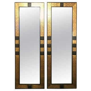 Pair of Moroccan Gold Brass and Ebony Wood Framed Pier or Console Mirrors For Sale