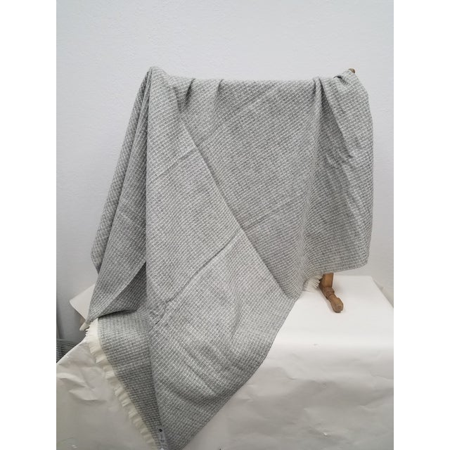 Wool Throw - Gray Waffle Weave Made in England For Sale - Image 4 of 9