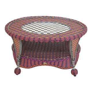 Mackenzie-Childs Round Tole Top Coffee Table For Sale