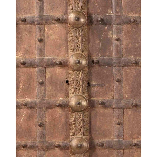 1900 - 1909 Antique Hand Carved Arched Door With Iron Straps Brass Pins| Indian Carved Door| Old Door Repurposed Wall Art| Rustic Door| Spanish Door For Sale - Image 5 of 6