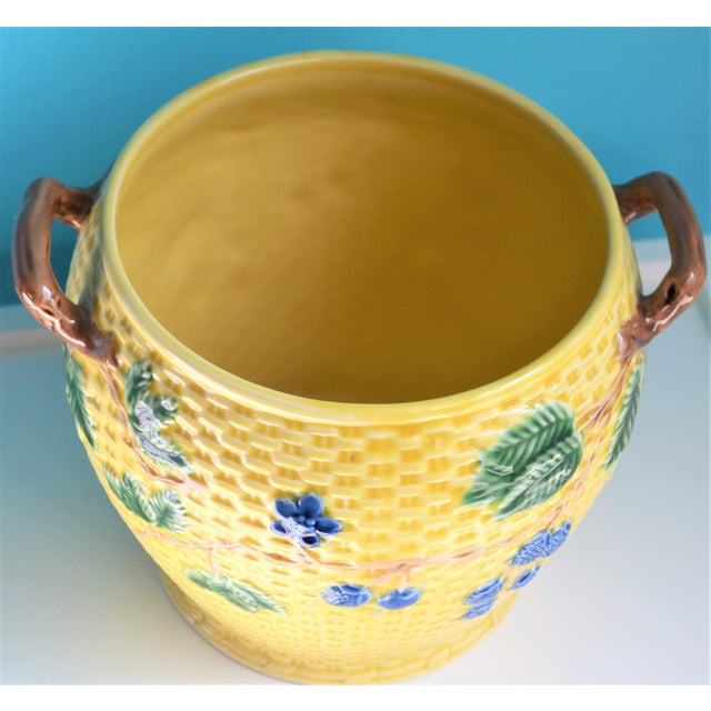 Italian Vintage Tiffany & Co. Blonde Basket Weave Majolica Cache Pot For Sale - Image 3 of 8