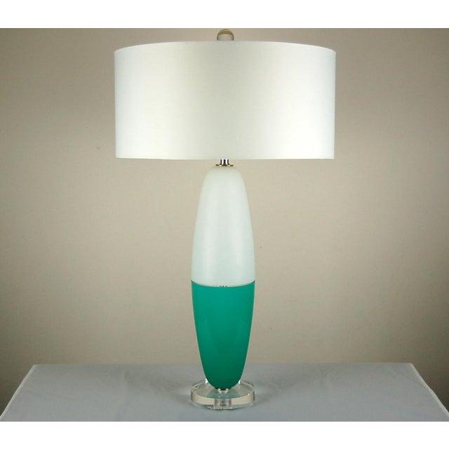 Murano Vintage Murano Glass Table Capsule Lamps in Aqua/White For Sale - Image 4 of 10