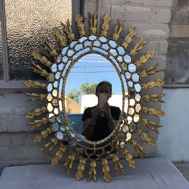 Spanish Gilt Wood Sunburst Mirror - Image 3 of 7