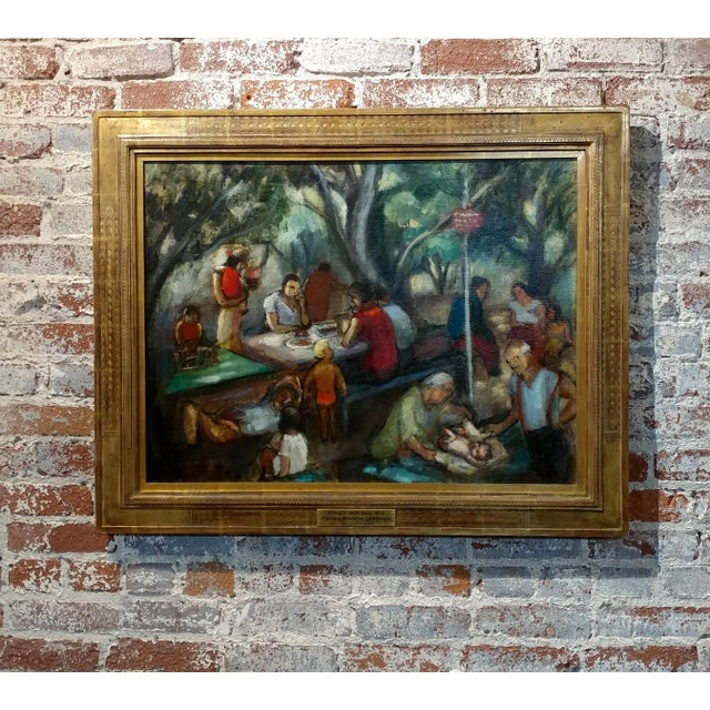 Frances Beatrice Lieberman-1935 Picnic at Alum Rock-Oil Painting-S.F. Museum of Art For Sale - Image 10 of 10