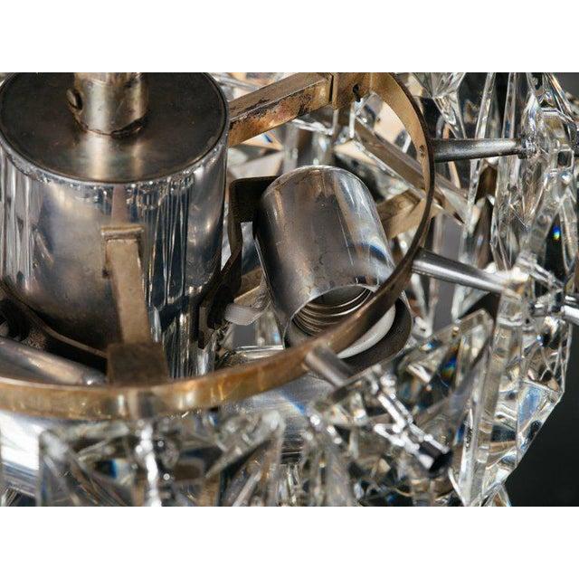 German Mid-Century Modern Faceted Crystal Chandelier by Kinkeldey For Sale - Image 10 of 11