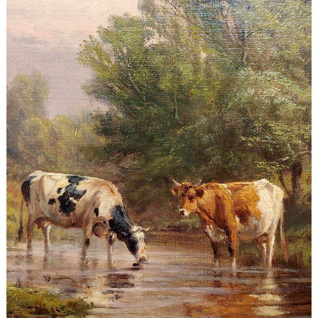 Thomas Craig -Cows Grazing by Water Under a Summer Sky-Oil Painting For Sale - Image 4 of 11
