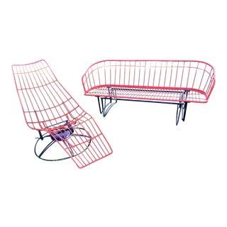 Vintage Mid Century Homecrest Glider and Swivel Lounge Set For Sale