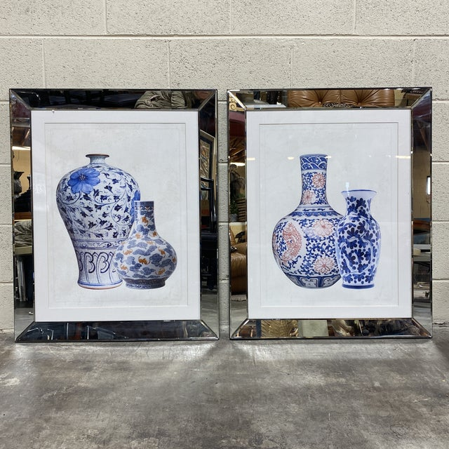 Mirrored Frame Ginger Jar Prints - - a Pair For Sale - Image 11 of 11