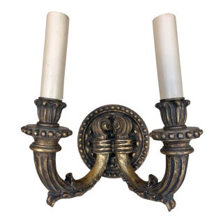 1920's Vintage Traditional Wood Carved Two Arms Gilded Wall Sconces