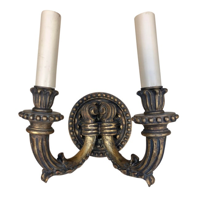 1920's Vintage Traditional Wood Carved Two Arms Gilded Wall Sconces For Sale