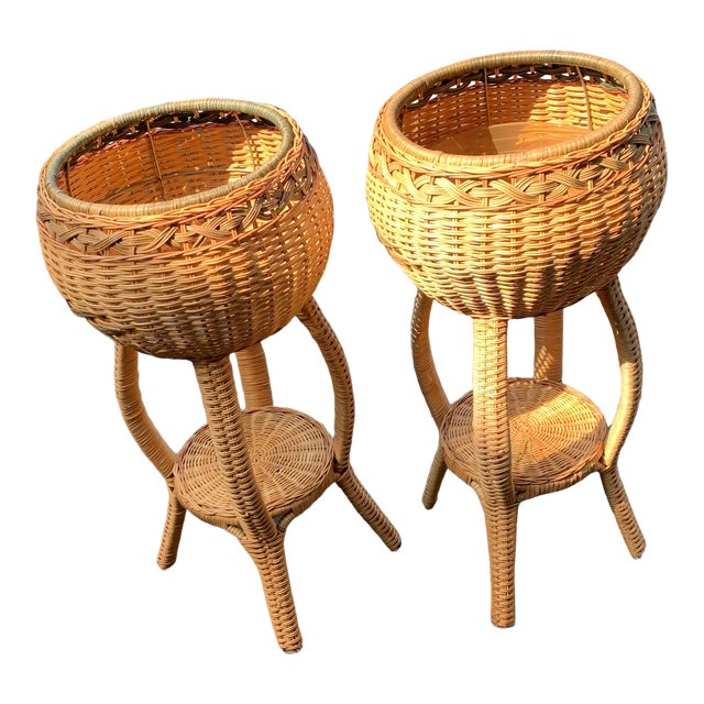 1970s Rattan Plant Stands - a Pair For Sale