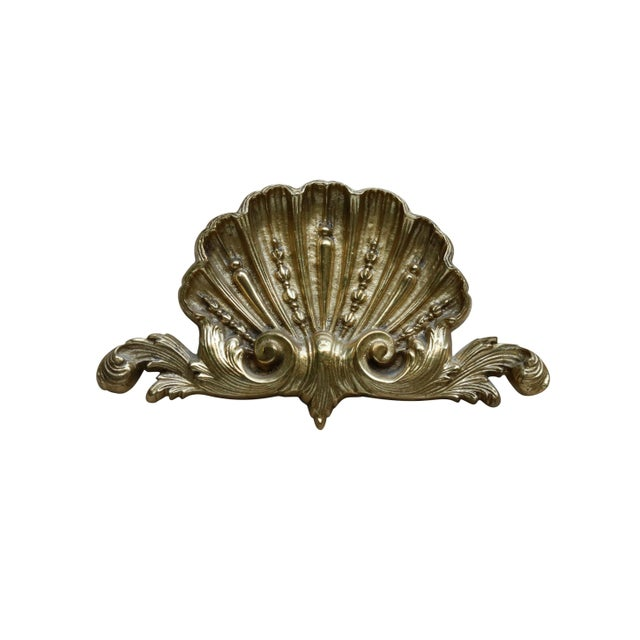 Brass Rococo Style Scallop Shell Brass Appliqué For Sale - Image 7 of 7