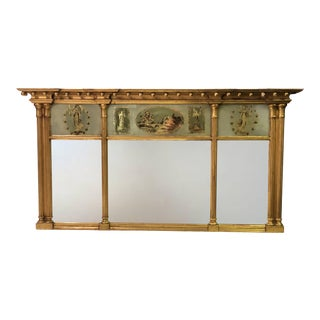 Early 19th C. Federal American Tripartite Overmantel Reverse Painted Gilt Églomisé Mirror For Sale