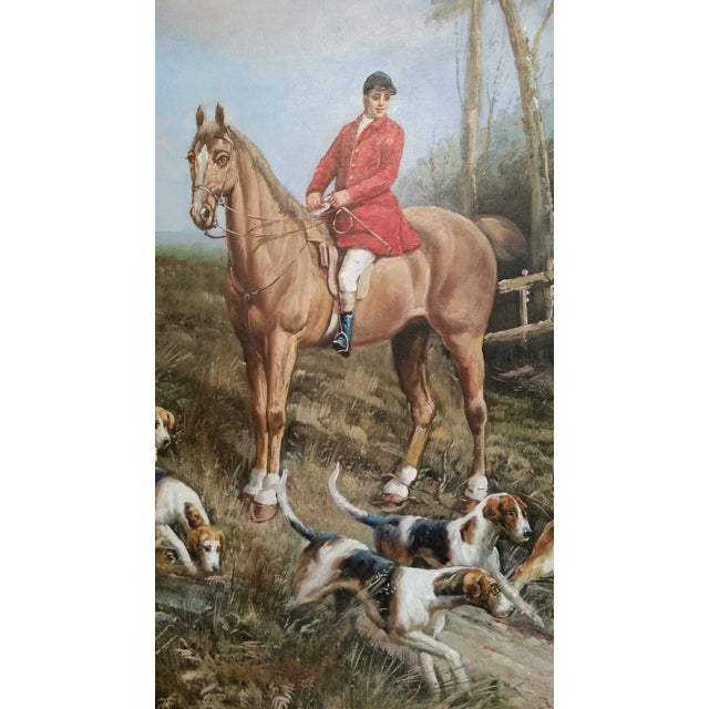 """""""Huntsman With Hounds"""", Framed Oil Painting - Image 3 of 4"""