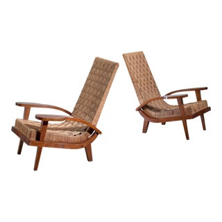 Pair of High Back Seagrass Armchairs, Italy, Late 1920s For Sale