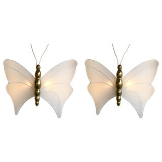 Pair of Brass Sconces Butterfly by Antonio Pavia, Italy, 1970s For Sale