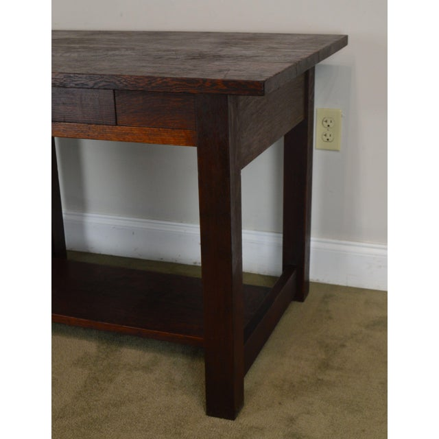 Mission Oak Antique One Drawer Table Writing Desk Possibly Stickley For Sale - Image 11 of 13