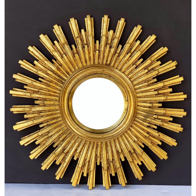 Mid 20th Century French Starburst or Sunburst Convex Mirror with Gilt Cast Frame For Sale - Image 5 of 13