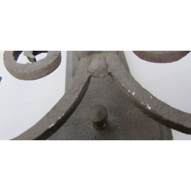 Two Light Wrought Iron Rustic Sconce - Image 5 of 7