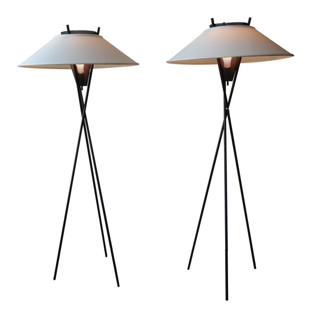 Gerald Thurston Tripod Floor Lamps - Pair - Image 1 of 6