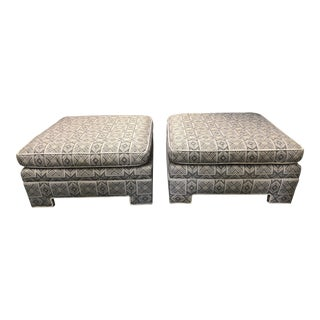 Custom Neutral Patterned Ottomans - A Pair