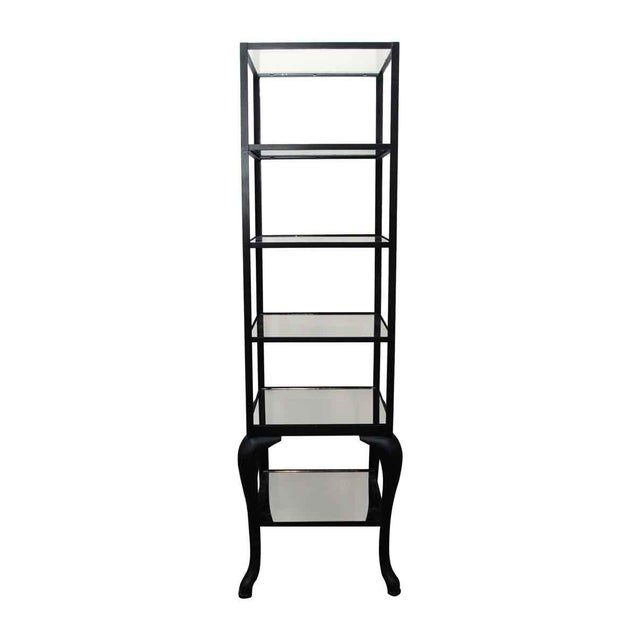 Features cast steel cabriole legs and distressed mirrored glass shelves. Made to order. Custom sizes available. Please...