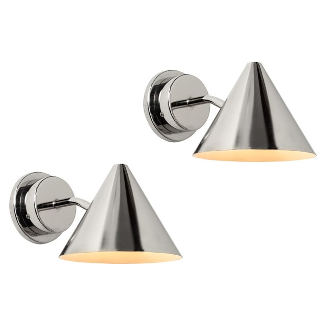 Silver Hans-Agne Jakobsson 'Mini-Tratten' Polished Nickel Outdoor Sconces - a Pair For Sale - Image 8 of 8
