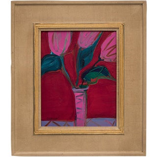 Late 20th Century Untitled (Tulips) Framed Painting For Sale