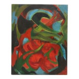 Image of Vintage 1960's Oil Abstract Painting on Canvas For Sale