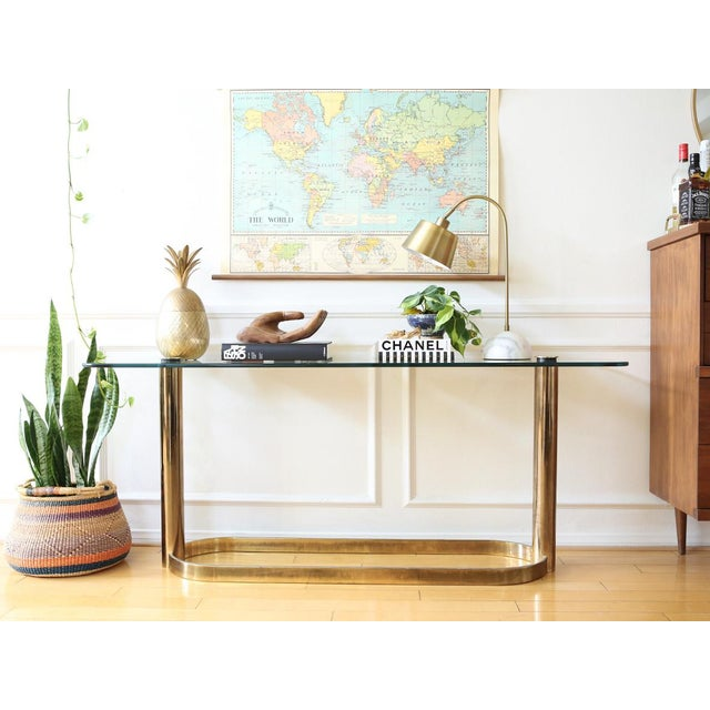 Mid-Century Pace Collection Glass Console Table - Image 2 of 8