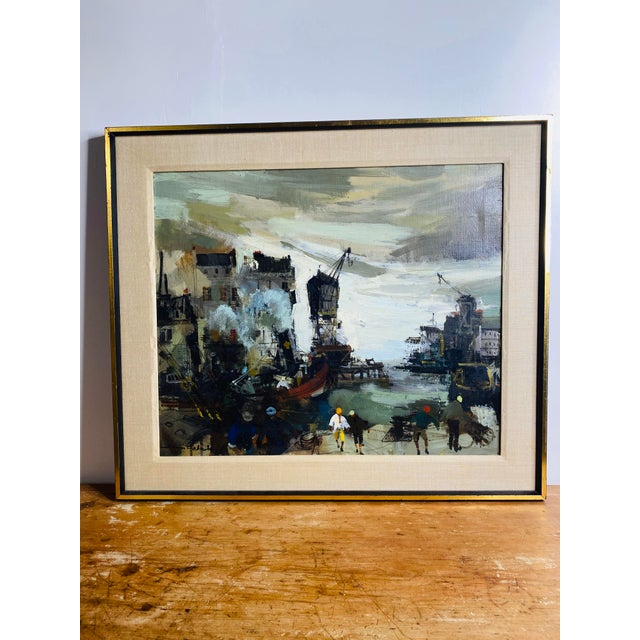 Canvas Mid 20th Century French Brutalist Style Oil Painting, Framed For Sale - Image 7 of 7