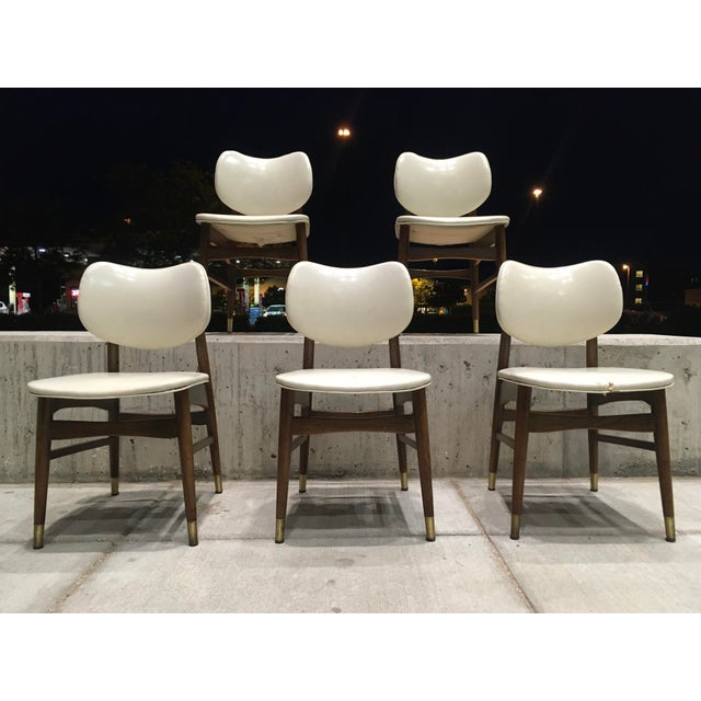 Mid-Century Modern Thonet Style Walnut and Vinyl Dining Chairs by Shelby Williams - Set of 5 For Sale - Image 13 of 13