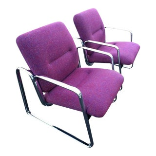 Violet Chrome Steelcase Chairs - A Pair For Sale