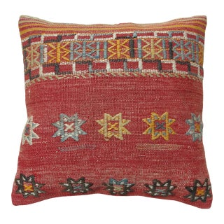 """Red Kilim Pillow Cover Cushion Case 16"""" For Sale"""