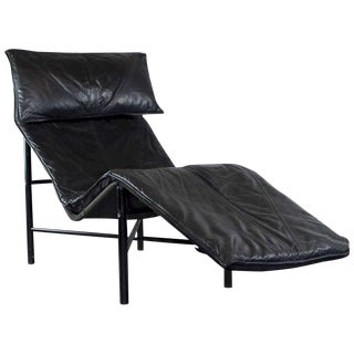 Tord Bjorklund Chaise Lounge in Black Leather For Sale