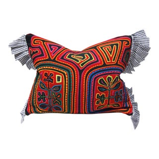 """Tribal Mola Decorative Pillow Cover - 13x16"""" For Sale"""