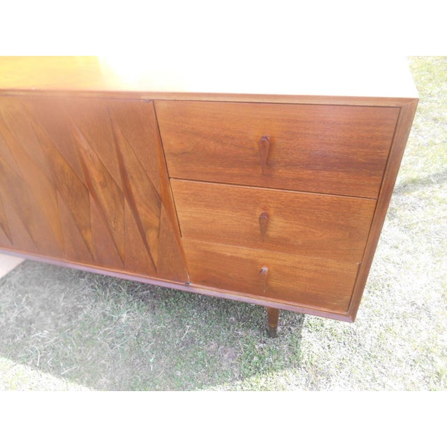 Brown 1950s Mid-Century Modern Albert Parvin Diamond Front Walnut Credenza For Sale - Image 8 of 11