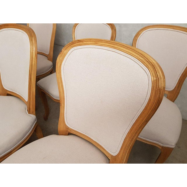 Set of 8 Louis XV French Natural Oak Dining Chairs Upholstered in Belgian Linen For Sale - Image 11 of 13