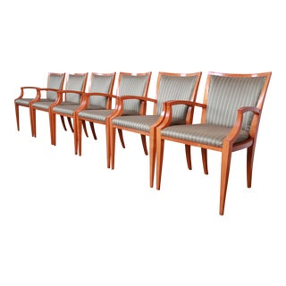 Baker Furniture Neoclassical Solid Maple Dining Chairs With Silk Upholstery, Set of Six For Sale