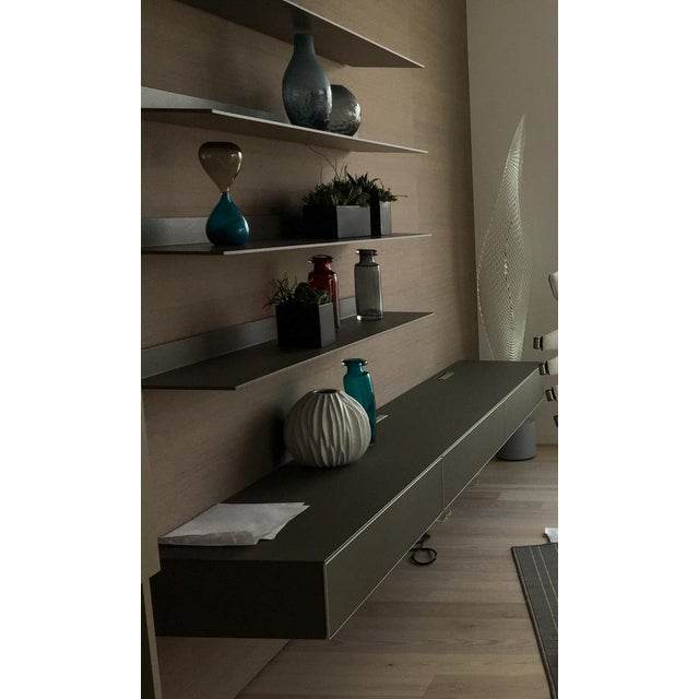 Rimadesio Abacus Wall Unit Shelves Drawers - Four Lighted Shelves And Three Touch Latch Drawers For Sale - Image 9 of 10
