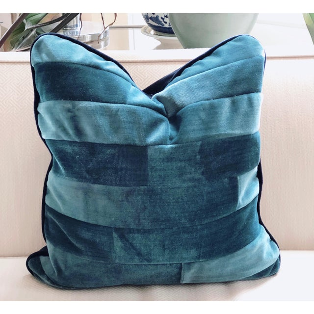 Tone on Tone Teal Stripe Velvet and Down Pillow For Sale - Image 4 of 4