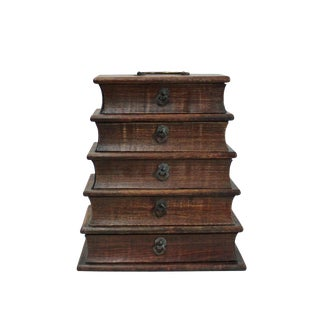 Chinese Huali Rosewood Tower Shape Drawers Storage Box Chest For Sale