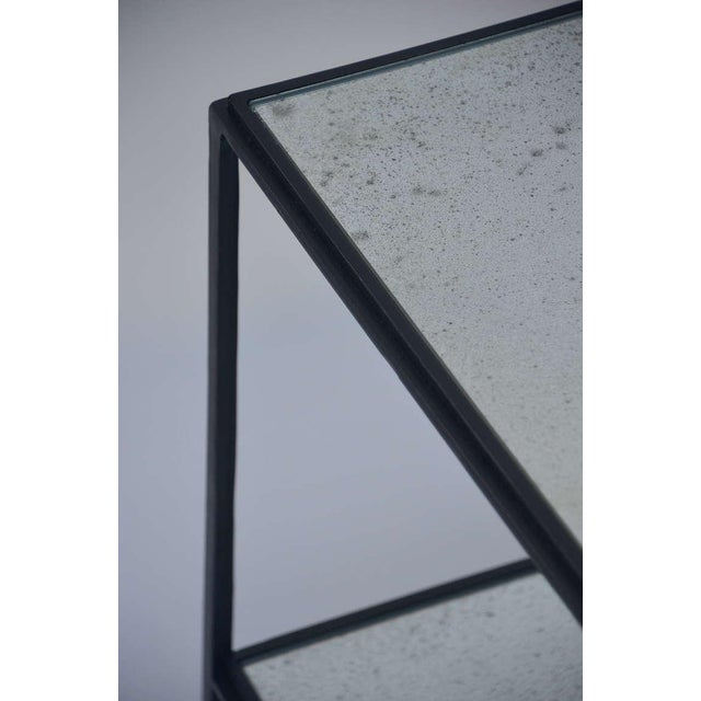 Gray Contemporary Design Frères 'Rectiligne' Wrought Iron and Mirror End Tables - a Pair For Sale - Image 8 of 11