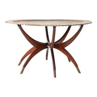 Large Antique Moroccan Copper Tray Table on Midcentury Folding Base For Sale