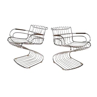 1970s Italian Gaston Rinaldi by Rina Chrome Arm Chairs - a Pair