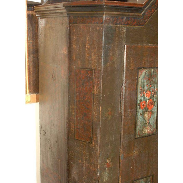Mid 19th Century 19th Century Baroque Painted Swiss Marriage Armoire For Sale - Image 5 of 5