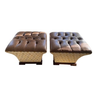 Custom Made Brown Ottomans- A Pair For Sale