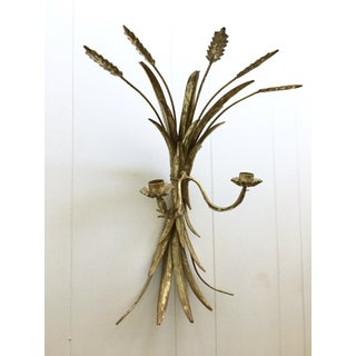 Vintage Italian Gilded Brass Metal Wheat Sheaf Torch Wall Sconce Preview